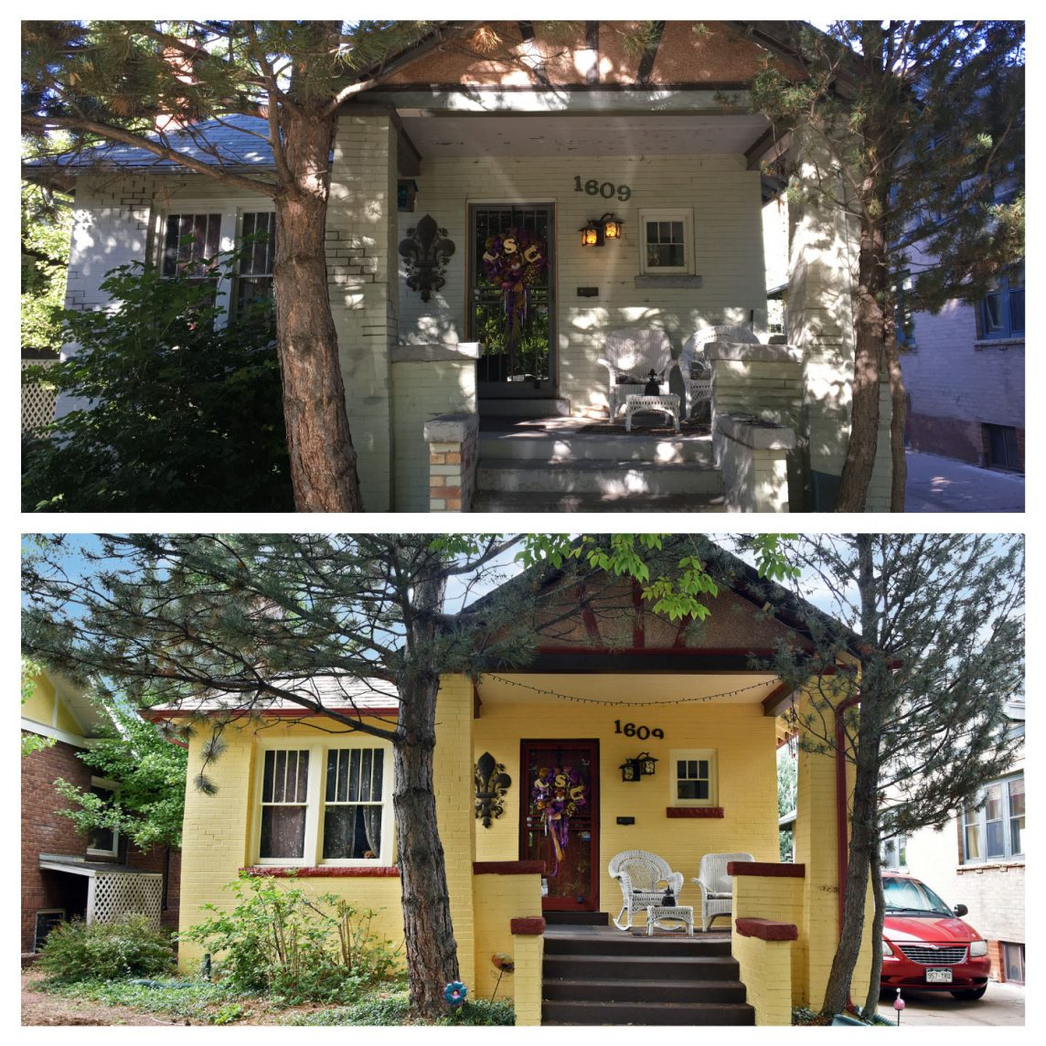 Denver House Painting Before and After Yellow Paint Brick Exterior House Painting
