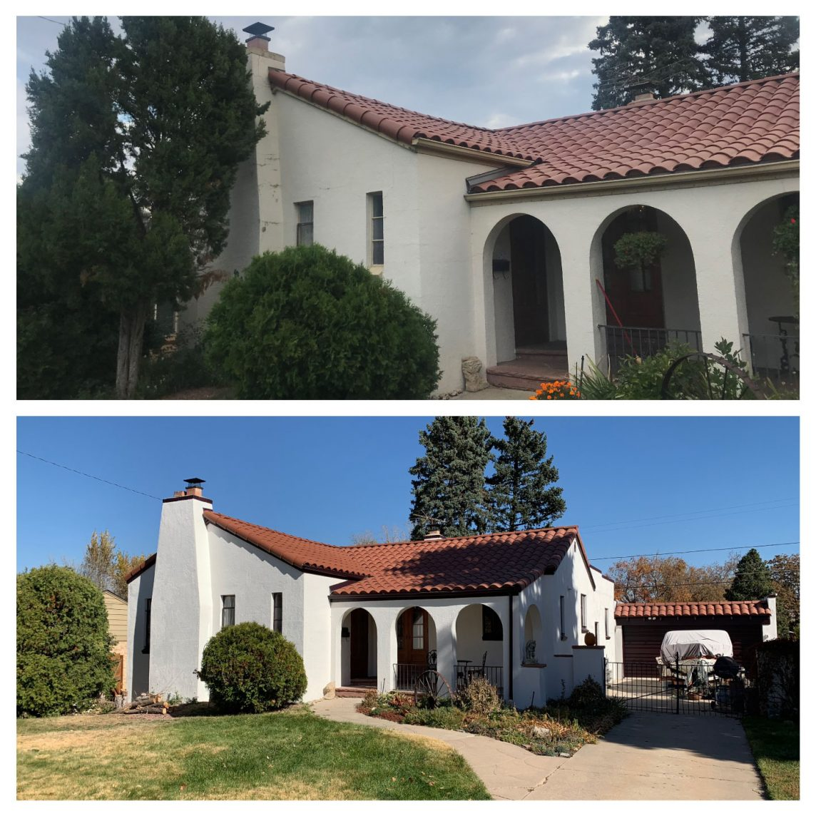 White Denver Home Exterior Painting Before & After