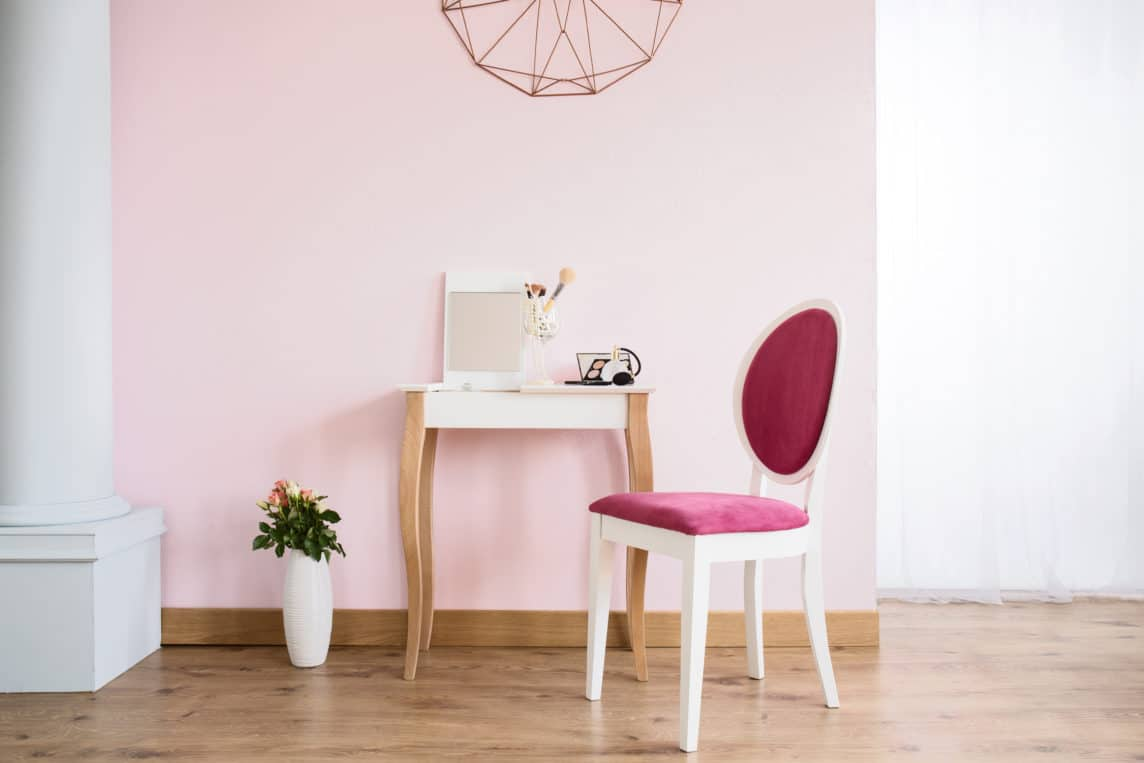 denver home painting pink feminine walls and chic classic accents