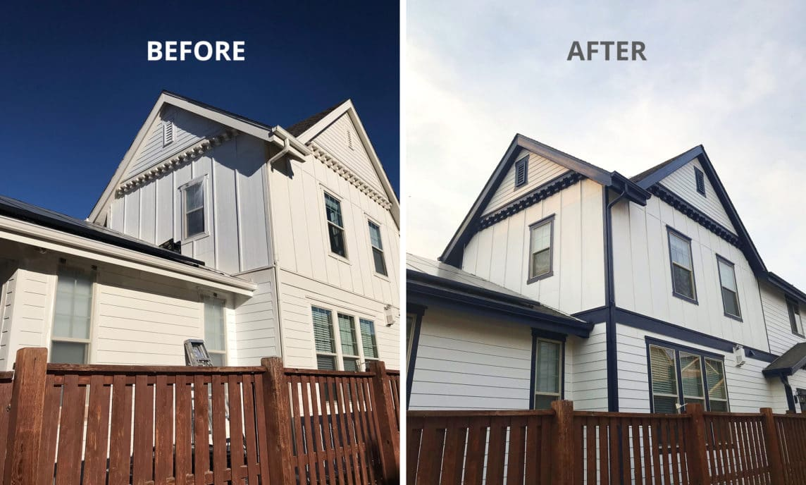 before and after photos of a home in denver colorado after being painted by denver painters